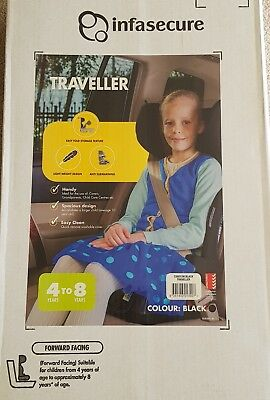 Infasecure Black Traveller Folding Booster Seat. 4 To 8 Years. New.  Lightweight
