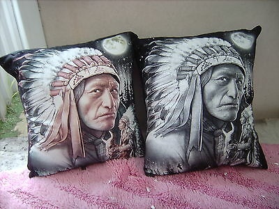 America Native  Chief Indians     One Pair Of Cushion 40  Cm / 16 Inches
