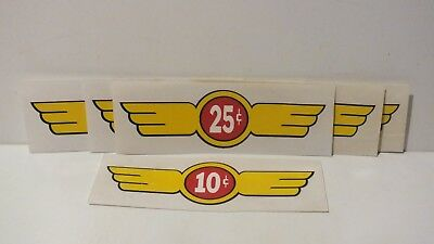 6 Gumball Machine Decals - Stickers 10¢ and 25¢