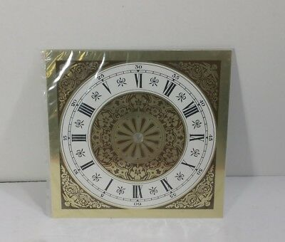 """NOS Vintage Onate Pressed Tin Clock Dial Face Gold & White 8"""" x 8"""" Replacement"""