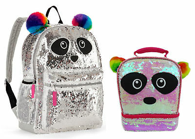 "Panda 2-Way Sequins Critter 16"" Backpack & Lunch Bag New School Book Tote"