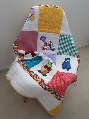 Handmade Patchwork Baby Quilt -  Animals -