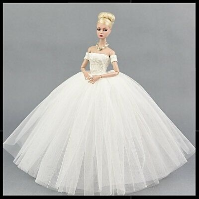 Brand new barbie doll clothes outfit princess wedding evening dress & veil.