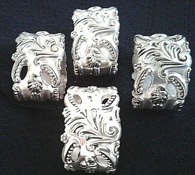 Godinger GSA Silver Plated Baroque Napkin Rings Set of 4
