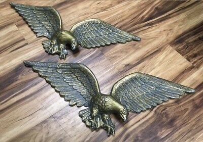 """Pair 24"""" Antique Vintage Federal Eagle Large Big Cast Iron Wall Hanging Statue"""