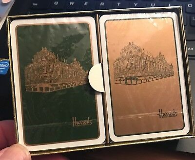 vintage pair of Harrods Knightsbridge sealed decks of playing cards with castles