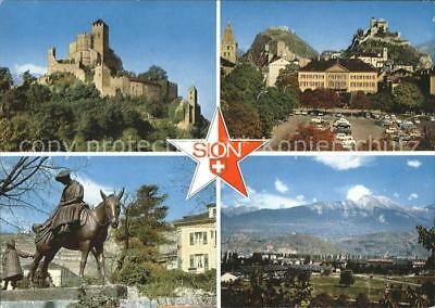 11694986 Sion VS Schloss Reiterstatue Panorama Sion