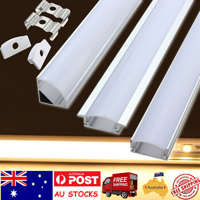 1M Alloy Channel Holder Aluminium Bar For LED Bar Lamp Strip Light With Cover AU