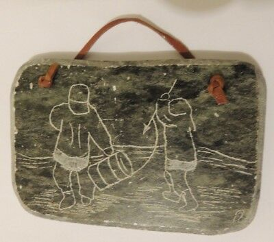 Inuit Style Hand Etched Soapstone Spear Fishing Signed By Canadian Artist DIMU