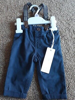 Boys Smart Navy Trousers With Braces 3-6months BNWT