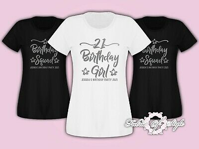 Personalised Birthday Girl Squad 18th 21st 30th 40th 50th T-shirt Ladies Silver
