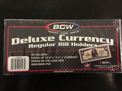 100 BCW Deluxe Semi Rigid Currency Sleeve Regular Bill Banknote Holder PVC Case