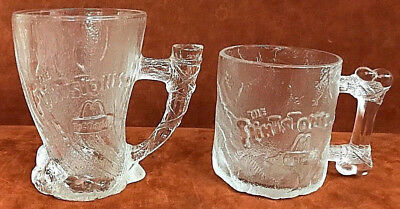 "Two (2) FLINTSTONES Glass Mugs ""RocDonalds"" Pre-Dawn and Mammoth 1993 McDonalds"