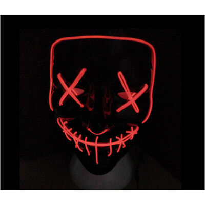 "Light Up Mask ""Smiling Stitched"" El Wire (Halloween Rave Cosplay) Makeup PartyAU"