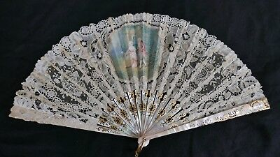 Antique 19th Century French Mother of Pearl Silk and Lace Fan - REDUCED