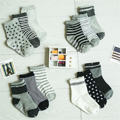 6 Pairs Kids Baby Toddler Cotton Socks Stripes Assorted Non Skid Ankle Anti Slip