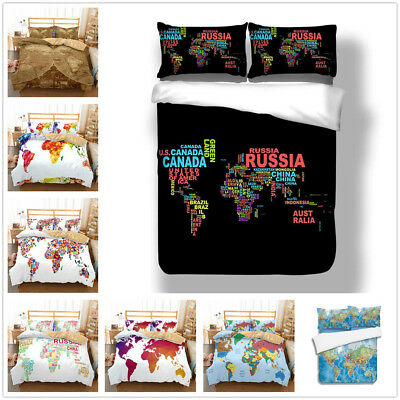 3D WATERCOLOR WORLD Map Duvet Cover Bedding Set Comforter ...