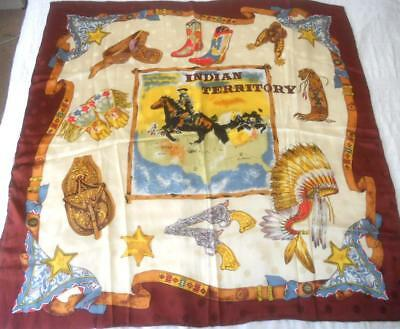 Fabulous Pure Silk Scarf Square Indian Territory Midwest Cowboy Etc 87 X 89 Cm