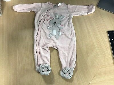 Baby Girl H&M Pink Velour Bunny Rabbit Soft Babygrow All In One Pyjama 2-4 Month
