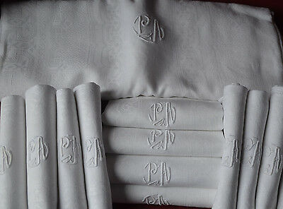 Antique French pure linen PA monogrammed damask table cloth and 12 napkins