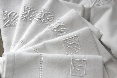 Antique French pure linen damask table cloth, 11 napkins, SC monograms whitework