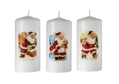 Handmade Christmas Vintage Santa Pillar Candles  - Unscented
