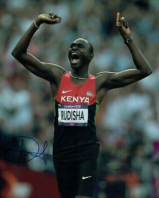 David RUDISHA Autograph Signed 10x8 Photo AFTAL COA Kenya Athlete Runner OLYMPIC