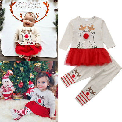 d05c6cc0e6a003 UK Xmas Toddler Baby Girl Lace Tutu Dress Top+Legging Outfit Clothes Set  Costume
