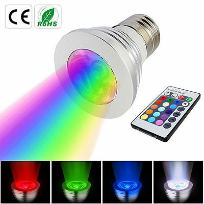 E27 3W 16 Color LED RGB Magic spot Light Bulb Lamp Wireless Remote Control