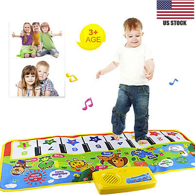 Play Keyboard Musical Music Singing Song Gym Carpet Mat Best Kids Baby Gift US
