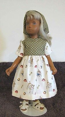 New Cotton Dress And Head Scarf For Sasha Green & Cream  - Dogs And Cats