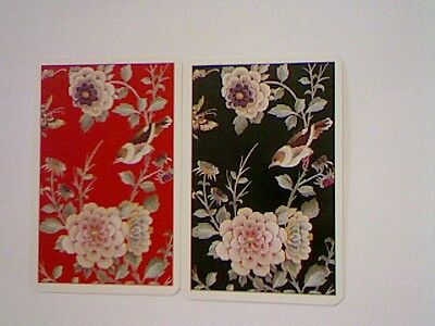 2 Single Swap/Playing Cards - Pair Bird on Branch with Flowers#