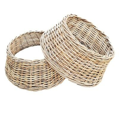 Wicker Rattan Grey Wash Christmas Tree Skirt  Basket Cover Base Free P&P