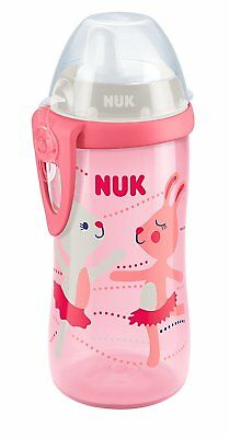 NUK First Choice+ Kiddy Cup, Bunny Print, 12+ Months, 300ml, No Leak - Pink