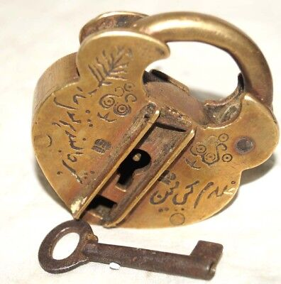 Antique Indian hand made  Islamic calligraphy brass pad lock-Urdu written  size