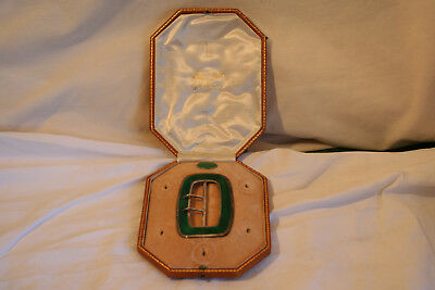 Silver & guilloche enamel buckle in jewellers case with one matching button 1909