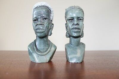"""Two South African busts (hard stone), by """"Leonard Mpatila"""" - Circa 1994"""