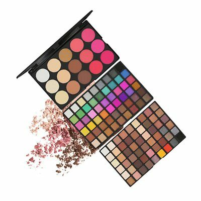 123 Color Eyeshadow Palette Blush Lip Gloss Makeup Cosmetic Set Professional BS
