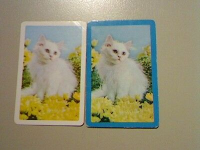 2 Swap/Playing Cards - Pair White Cats (1 X Blank Back)^^