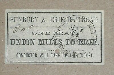 ***rare Early 1860 Sunbury & Erie Railroad One Seat Ticket***