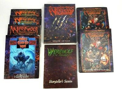 White Wolf Werewolf The Apocalypse RPG 8 Book Bundle Acceptable Condition
