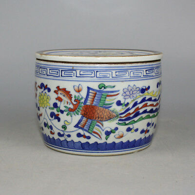 Chinese Old Marked Blue White Contrasting Colored Phoenix Pattern Porcelain Box
