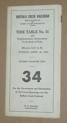 ***vintage 1950 Buffalo Creek Railroad Employee Timetable***map