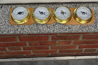 Opel Trophy Wetterstation-Uhr Baro-Hygro-Thermometer Auf Messing+Massivemholz