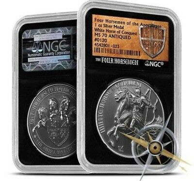 1oz WHITE HORSE OF CONQUEST Ag NGC PF70 4 Four Horsemen Of The Apocalypse