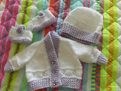 Newborn baby hand knitted cardigan, shoes, and hat, set