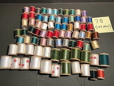 Lot of 78 (44 new) Vintage Spools of Wood & Thread  almost all Lily