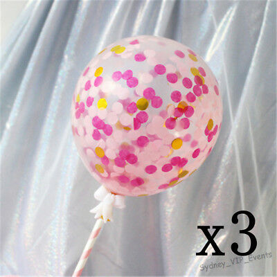 """5""""/12Cm Confetti Balloons Cake Topper Pink Gold Baby Shower Birthday Party 3Pc"""