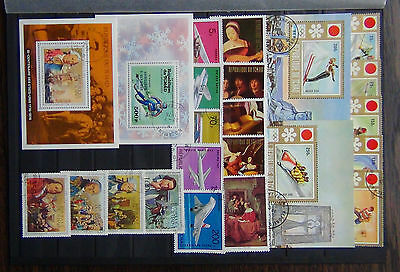 Chad 1972 Olympic M/S x 2 Paintings set 1973 Aviation set 1976 American Rev M/S