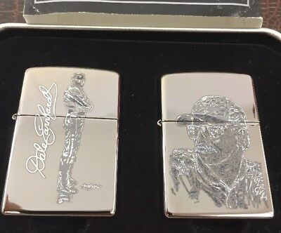 2004 Zippo 2 Lighter Set Signed Sam Bass Limited Edition Dale Earnhardt MIB